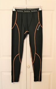 Tesla Mens Leggings, Black with pinstripes, Size XXL, New without Tags