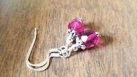 Czech glass bead earrings, fuchsia pink, crystal beaded, silver dangle faceted