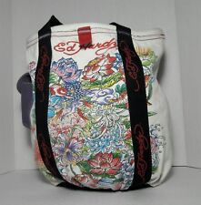 Ed Hardy Canvas Tote Bag Shopper Beach Flowers Handbag White Purse Pocketbook
