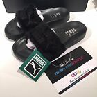 PUMA RIHANNA BLACK FURR FUR LEADCAT SLIDES SLIPPERS UK US 4 5 6 7 8 9 10 FENTY
