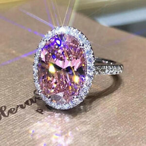 Fashion Women 925 Silver Pink Sapphire Ring Wedding Engagement Rings Jewelry