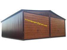 Blechhalle 5x7x2,55 Blechgarage Blechschuppe Schuppe 4Kantprofil! Holzoptik*