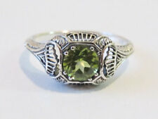 Natural Peridot Gemstone Ring Sterling Silver Vintage Art Deco Style Size 6.75