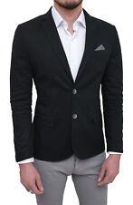 Giacca uomo elegante nero slim fit blazer cerimonia con pochette da taschino