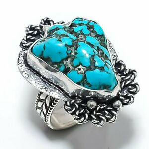 Tibetan Turquoise Gemstone 925 Sterling Silver Jewelry Ring Size 7.5 L417