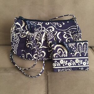 Vera Bradley Crossbody Bag w/ Coin Purse Blue White Paisley Floral Print