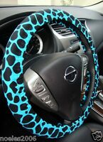 Hand Made Steering Wheel Covers Blue Giraffe Print