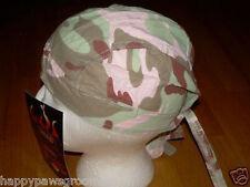 PINK CAMO CAMOUFLAGE FITTED w/ TIES Tied Bandana Skull CAP Head do doo du rag