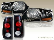 97-03 FORD F150 SVT STYLE BLACK HEADLIGHTS + CORNER LIGHTS + TAIL LIGHTS BLACK