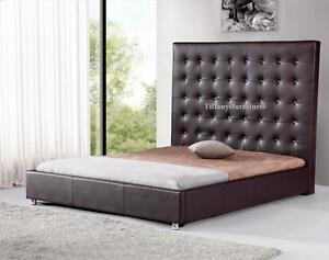 #4006 Gorgeous Modern Cal/Eastern king Size Dark brown PU Leather bed