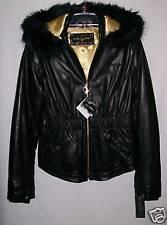 Baby Phat ~ Black Leather Hooded Jacket Size M ~ NWT