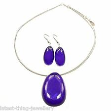 Purple Necklace Earrings Set Shell Acrylic Pendant Design