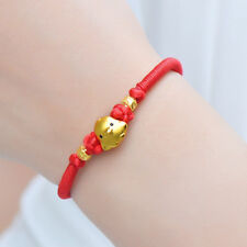 Authentic 24k Yellow Gold 3D Lovely Chicken Bead Red Cord Knitted Bracelet