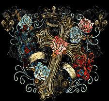 Cross Roses Fleur Des Lis Tattoo T-Shirt PLUS SIZE or SUPERSIZE T295F Rhinestone