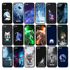 Personalised Glass Back Case for iPhone 6 6s 7 8 PLUS X XS MAX XR / WOLF