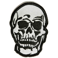 Embroidered Reflective Small Baron Skull Sew or Iron on Patch Biker Patch