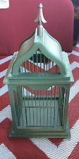 Bird Cage Wood Metal Tin Living Room Den Entry Way Home Decor Patio Green Shabby