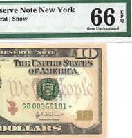 2004A $10 NEW YORK * STAR * 🌟 FRN, PMG GEM UNCIRCULATED 66 EPQ BANKNOTE