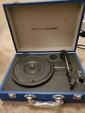 New listing MultiTech Audio Bt Suitcase Record Player With 3 Speed Turntable - Blue