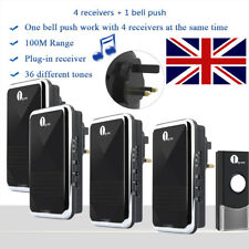 1Byone DIY UK Plug-in Wireless  DoorBell LED Home Chime With 4 Receivers