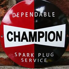 CHAMPION ENAMEL SIGN round logo garage spark plug oil vitreous porcelain VAC170