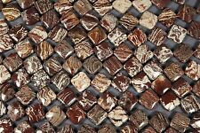 "PETRIFIED WOOD JASPER 12MM CORNER DRILL SQUARE DIAMOND BEADS 16""  STR"
