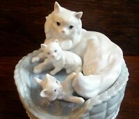 LLADRO 6652 Kitty Care Mother Cat & Kittens In Basket Rare Collectable Figures
