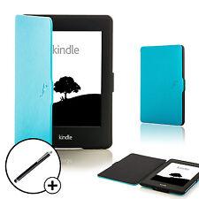 De Cuero azul caparazón Smart Funda Protectora Para Amazon Kindle Paperwhite 2015 + Stylus
