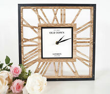 Stylish Square Skeleton Style Waxed Wooden Cut out Clock With Black Hands 30cm