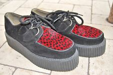 Underground Creepers Suede Red Leopard Print Ponyskin UK 5 38 Black Worn Once