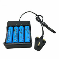 4X 18650 3.7V 5000mAh Li-ion Rechargeable Battery with 4.2V Charger Plug UK Plug
