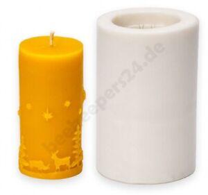 Kerzen-Gießform Winterbild groß, Silikon-Kautschuk, Kerzen gießen Bienenwachs