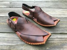Handmade Sandal Men Brown Genuine Leather Peshawari Chappal Shoes Size 8.5US