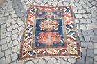 Fabulous Antique Caucasian Rug 38'' x 42'' Caucasian Collector's Distressed Rug