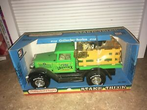 Vintage Nylint Farms Pickup Livestock Truck -Green Pressed Steel With Cow / Calf