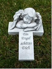 /'Grabschmuck Grabdeko *Kreuz mit schönen Rosen* wetterfest grau-antik 11 x 17 cm