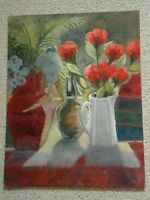 20TH CENTURY OIL ON CANVAS STILL LIFE IN FLOWERS BY D.B.ASHWOOD