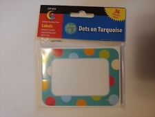 """Educational/School Supplies: 36 Adhesive """"Dots on Turquoise"""" Labels/Name Tags"""