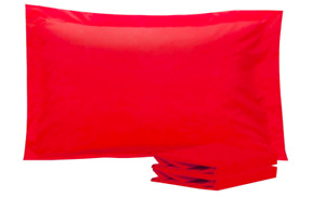 Set of 2 Queen Size Pillow Shams 100% Brushed Microfiber in Red Envelope Closure