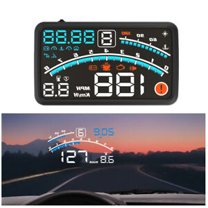5.5in OBD2 Digital HUD Head-up Display Speedometer RPM Time Fuel Voltage Guage