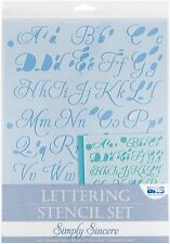 Blue Hills Studio 4 PEZZI semplicemente sincero Lettering Stencil Set