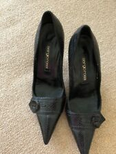 HARD TO FIND SERGIO ROSSI Black Snakeskin Button Toe Heels Pumps EU 36 US6