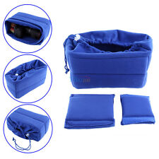 Shockproof Camera Lens Case Insert Cushion Partition 2Padded Bag for DSLR Blue