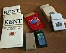 Vintage Cigarette Brand Lighters & Solar Powered Calculators Lot of 6