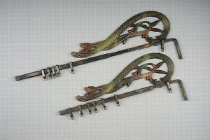 2 Antique Swing Arm Curtain Rods Extendable , Cast Iron, Art Deco