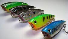 Lure Set T5C-Bass Fishing Popper-Top Water Chugger 5 New Baits-Ships Free
