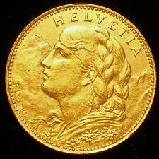 1922 B 10 Francs Switzerland Swiss Helvetia Vreneli Gold Coin AGW 0.933ozt B4592