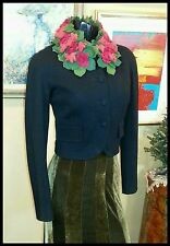 ENCHANTED GARDEN! Vintage MOSCHINO 40s 80s NOVELTY dress jacket 3/4 SLV ROSES