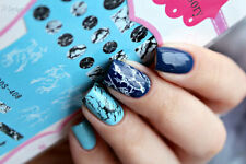 Marble Grain Water Decal Black White Manicure Nail Art Transfer Sticker Decors