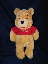 "Disney Store Winnie the Pooh 12"" Plush Red Sweater Furry Shaggy Stuffed Toy"